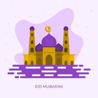 Plano Eid Mubarak Saudações Vector Illustration