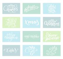 Conjunto feliz Natal vector texto caligráfico Lettering modelo de cartão de design. Tipografia criativa para o cartaz de presente de saudação de feriado. Faixa de estilo de fonte de caligrafia