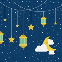 Céu estrelado com lanternas vetor