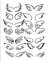 Conjunto de vetores de mão desenhada de asas