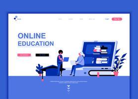 Conceito de modelo de design moderno web página plana de educação on-line