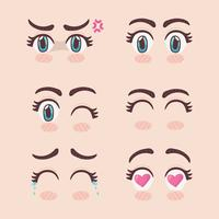Conjunto de olhos mangá vetor