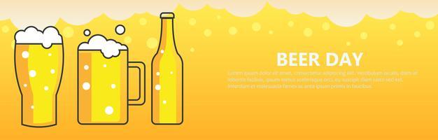 Fundo de banner de dia de cerveja. Ilustração vetorial plana