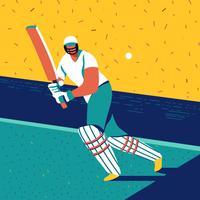 Jogador de críquete em execução vetor