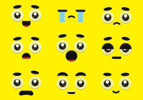 Olhos de desenho animado e conjunto de expressão vetor