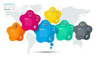 Bar rótulos infográfico com 5 passos. vetor