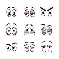 Olhos coloridos dos desenhos animados vetor