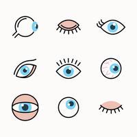 Conjunto delineado de olhos vetor