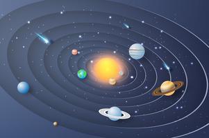 Arte de papel do fundo do círculo do sistema solar. vetor