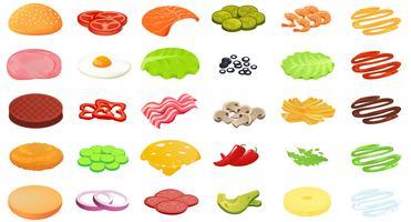 Designer de hambúrguer de ingredientes. Construtor de alimentos e carne e legumes e queijo e peixe vetor