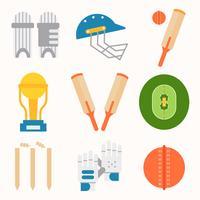 Vetor de equipamento de críquete