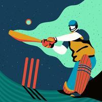 Ação de jogador de críquete vetor