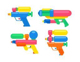 Armas de água de brinquedo dos desenhos animados vetor