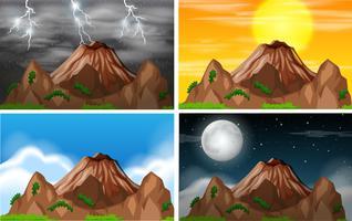 Conjunto de clima diferente de vista de montanha