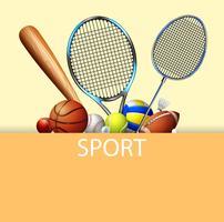 Poster design com equipamentos de esporte vetor