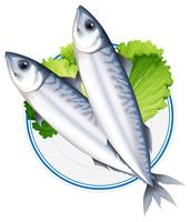 Peixe em prato redondo vetor