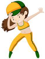 Garota feliz fazendo breakdancing vetor