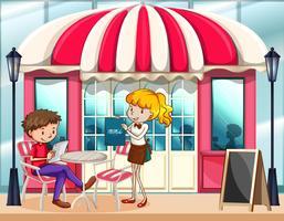 Cena de café com garçonete vetor