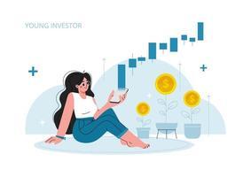 a garota se senta no chão e olha para o telefone dela, investimento no mercado de ações, crescimento, dinheiro de renda, taxa crescente, lucro, jovem ilustração generation.vector. vetor