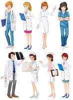 Médicos e enfermeiros vetor