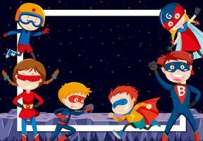 super-heróis no espaço sideral vetor