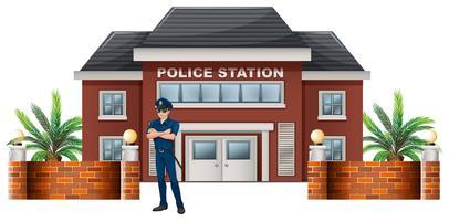 Um, policial, ficar, frente, a, delegacia polícia vetor