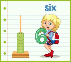Um, menina, segurando, numere seis