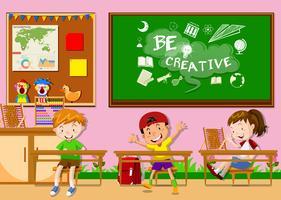 Três crianças, aprendizagem, em, sala aula vetor