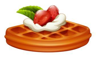 Waffle com morango e creme vetor