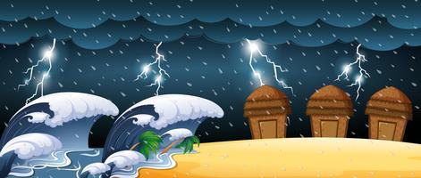 Cena de desastre com tsunami e trovoadas vetor