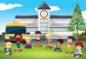Crianças, ficar, frente, escola vetor