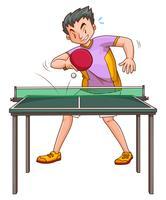 Jogador de pingue-pongue jogando na mesa vetor