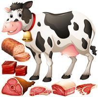 Vaca e produtos de carne vetor