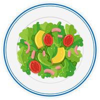 Salada fresca no prato redondo vetor
