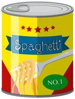 Espaguete na lata de comida vetor