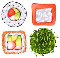 Topview dos diferentes alimentos japoneses vetor