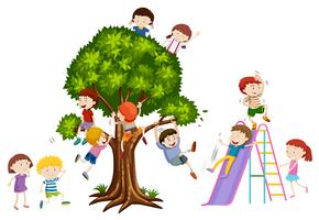 Crianças, tocando, ligado, árvore, e, escorregar vetor