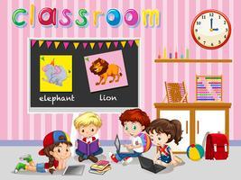 Crianças, trabalhando, em, sala aula vetor