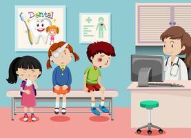 Crianças, em, clínica médica vetor