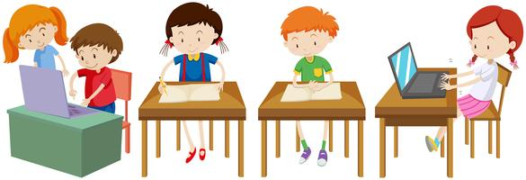 Meninos meninas, trabalhando, escrivaninha vetor