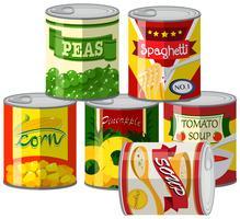Conjunto de alimentos enlatados vetor