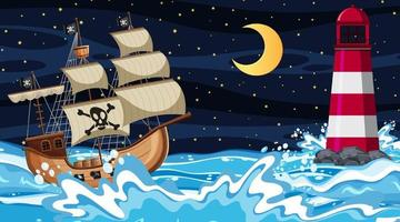 cena do oceano à noite com o navio pirata em estilo cartoon vetor