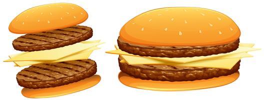 Hambúrgueres com carne e queijo vetor
