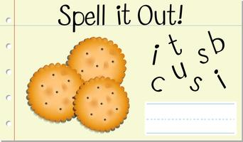 Soletrar palavra inglesa biscoito vetor