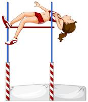 Atleta feminina fazendo salto em altura vetor