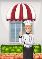 Um chef em frente ao restaurante