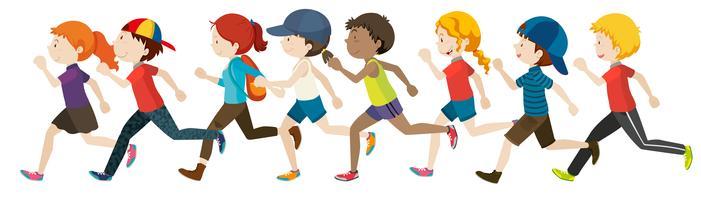 Meninos e meninas correndo em grupo vetor