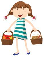 Menina com dois cesta de comida vetor