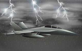 Um avião do exército no céu de mau tempo vetor
