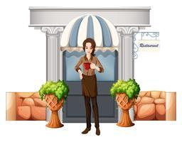 Uma senhora em frente ao restaurante